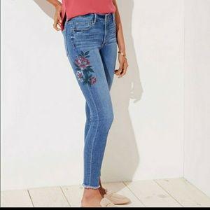 Loft modern skinny floral jeans 28/6